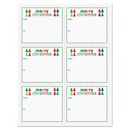 Self-Stick Merry Christmas Package Labels