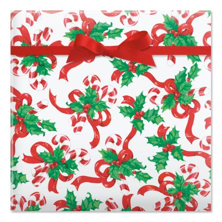 Candy Canes & Classic Bows Rolled Gift Wrap