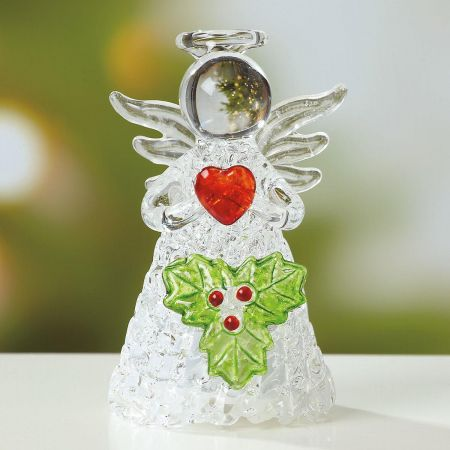 Light-up Glass Angel with Holly Figurine