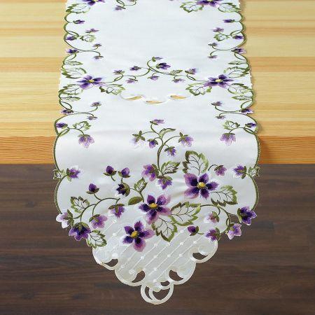 Purple Violets Table Runner