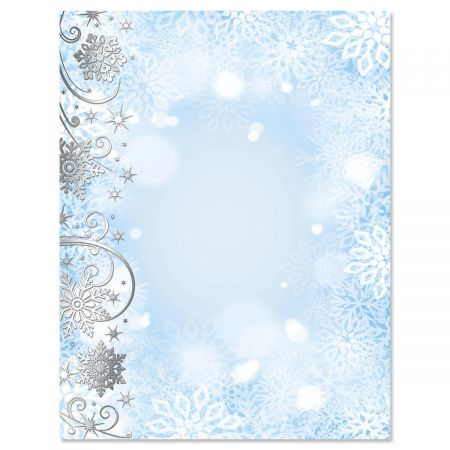 Swirling Snowflakes with Silver Foil Christmas Letter Papers