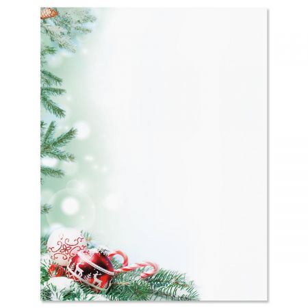 crystal pineboughs christmas letter papers - Christmas Paper