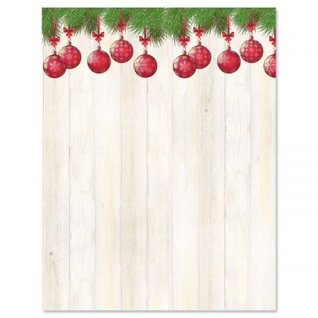 Boughs of Ornaments Christmas Letter Papers
