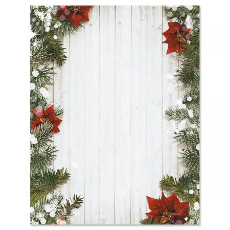 Poinsettia Pine Christmas Letter Papers