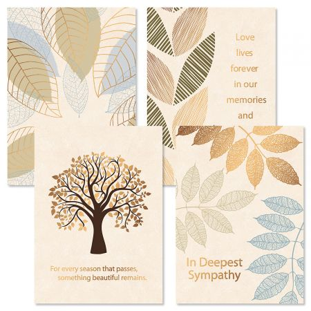 Deluxe Falling Leaves Sympathy Cards and Seals