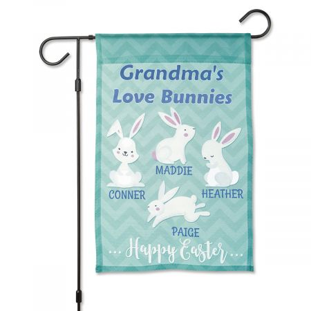 Easter Love Bunnies Personalized Garden Flag