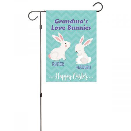 Personalized Love Bunnies Garden Flag