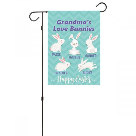 Personalized Love Bunnies Garden Flag - 5 Names