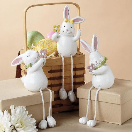Shelf Sitter Bunnies with Dangling Legs