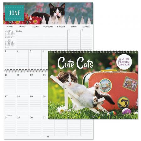 2018 Cats Big Grid Planning Calendar
