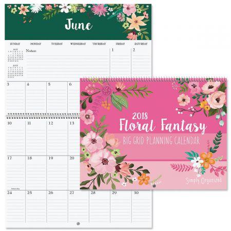 2018 Floral Fantasy Big Grid Planning Calendar