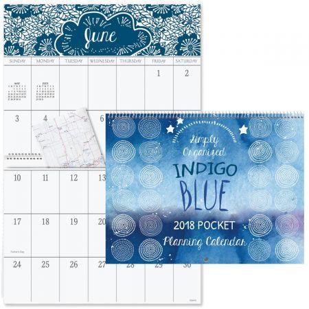 2018 Indigo Blue Big Grid Calendar with Pockets