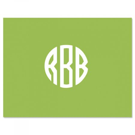 Monogram Central Note Cards-Green-615877A