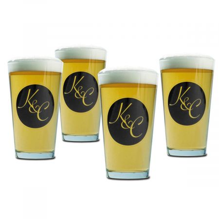 Beer Pint Personalized Glasses - Circle Initial