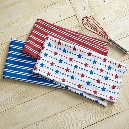 Patriotic Red & Blue Kitchen Towels