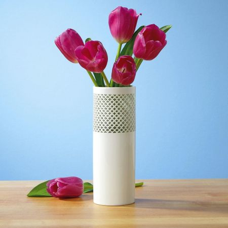 Elegant Cutout Ceramic Vase by Current Catalog