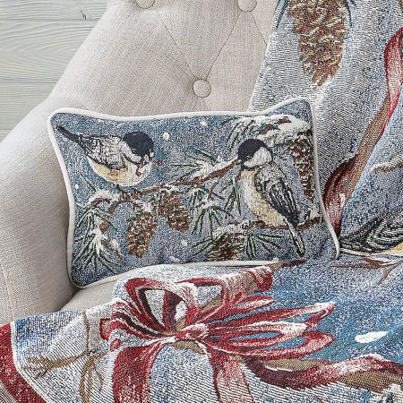 Winter Chickadee Decorative Pillow