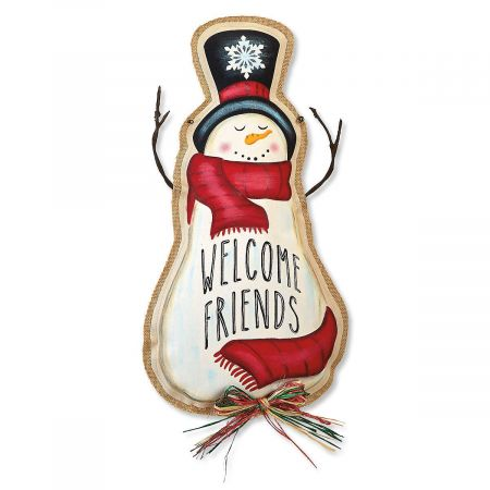 Welcome Friends Snowman Door Décor