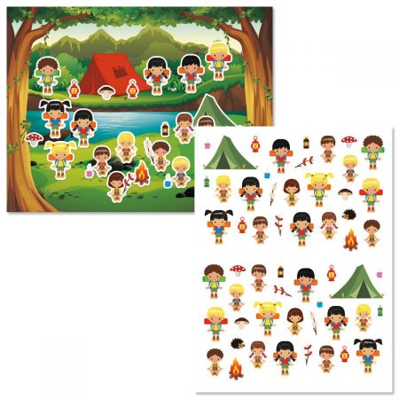 Summer Camp Background Scenes and Stickers
