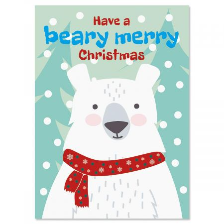 Beary Merry Christmas Personalized Christmas Cards - Set of 72