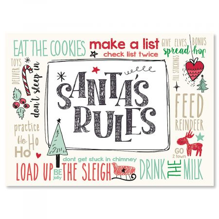 Santa's Rules Nonpersonalized Christmas Cards - Set of 18