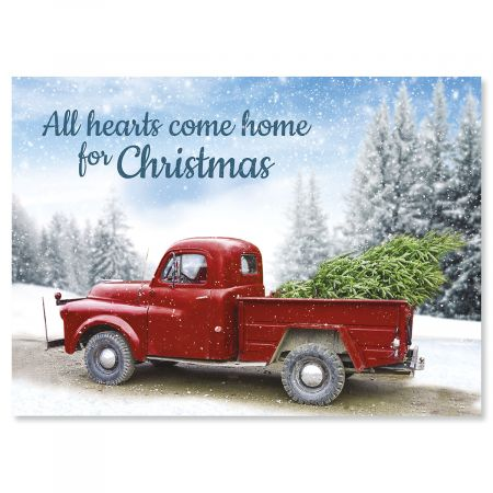 Winter Road Personalized Christmas Card - Set of 18