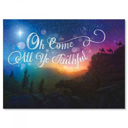 Night Star Personalized Christmas Cards - Set of 18