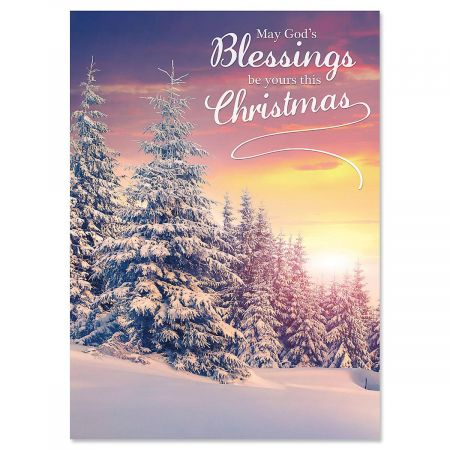 Christmas Blessings Nonpersonalized Christmas Cards - Set of 72
