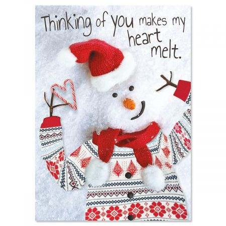 Modern Snowman Nonpersonalized Christmas Cards - Set of 18