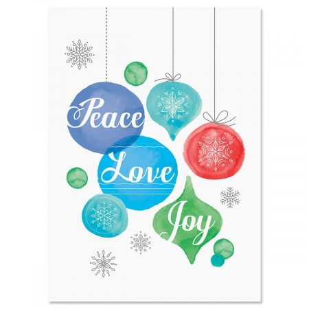 Peace, Love, and Joy Nonpersonalized Christmas Cards - Set of 18