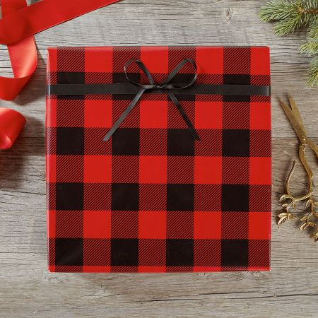 Buffalo Plaid Jumbo Rolled Gift Wrap and Labels