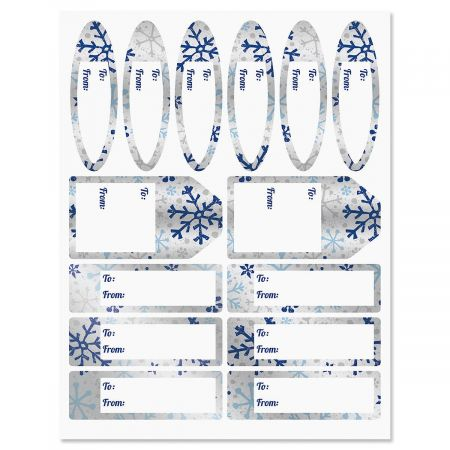 Silver and Blue Flurries Labels
