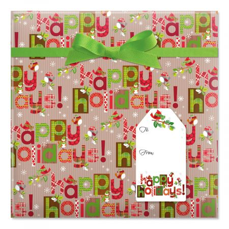 Woodland Type Jumbo Rolled Gift Wrap and Labels