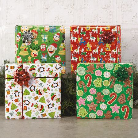 Elves Jumbo Rolled Gift Wrap and Labels