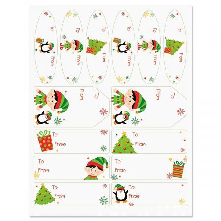 Elves Christmas Gift Labels