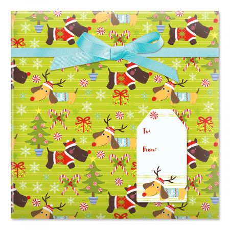 Christmas Puppies Jumbo Rolled Gift Wrap and Labels