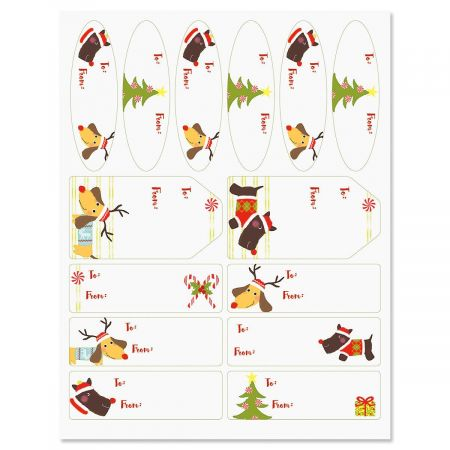 Christmas Puppies Labels