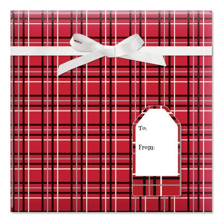 Offset Plaid Jumbo Rolled Gift Wrap and Labels