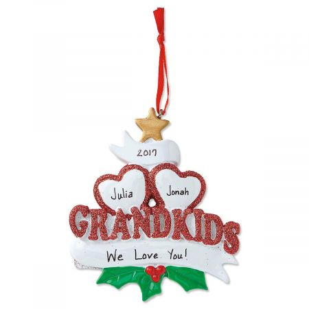 Personalized Grandkids with Hearts Christmas Ornament