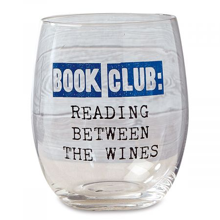 Reading Book Club Stemless Wine Glass