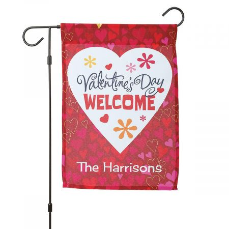 Personalized Valentine Garden Flag and Garden Flag Stand