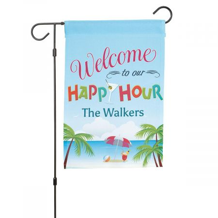Personalized Happy Hour Welcome Flag and Garden Flag Stand
