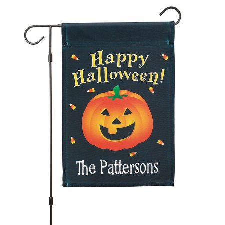 Personalized Halloween Garden Flag and Garden Flag Stand