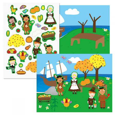 Pilgrims & Indians Thanksgiving Sticker Scenes and Stickers