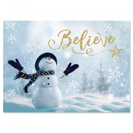 Believe Snowman Christmas Cards and Seals