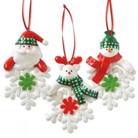 Set of 3 Snowflake Character Christmas Ornaments