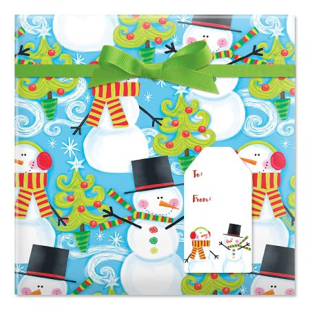 Swirly Snowman Jumbo Rolled Gift Wrap and Labels
