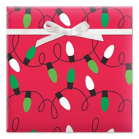 Holiday Lights on Red Jumbo Rolled Gift Wrap