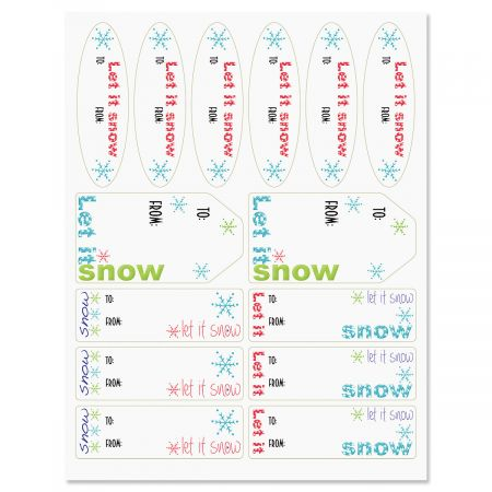 Flaked Script Christmas Gift Labels