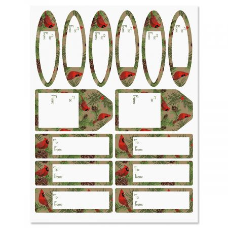 Cardinals Christmas Gift Labels